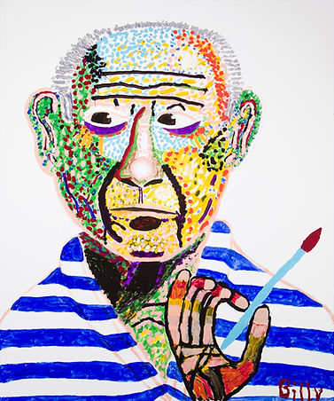Picasso, Le Maitre, The Master, Billy Cone Acrylic On Canvas, 48 inches by 60 inches Faceture Painting