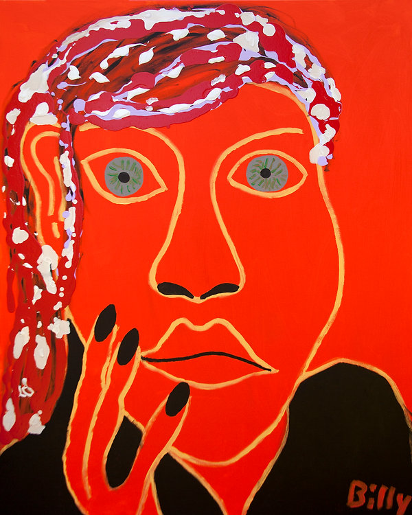 La Mexicaine, The Mexican Woman, Billy Cone Acrylic On Canvas, 48 inches by 60 inches Faceture Painting