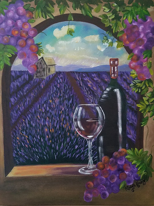 VINO, GRAPES, AND LAVENDER FIELDS