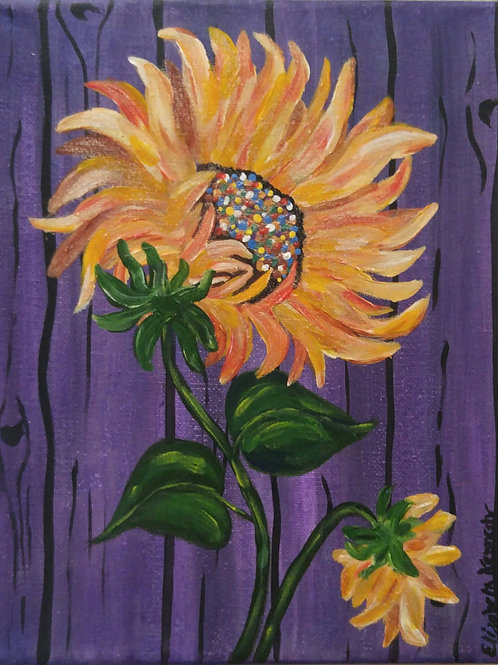 SUNFLOWER ON PURPLE FENCE - SOLD