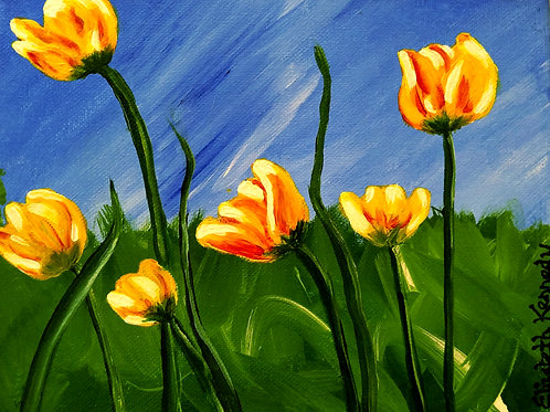 TULIPS IN SUN - SOLD