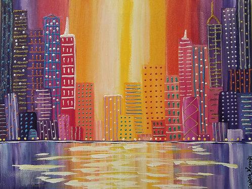 CITYSCAPE IN RAIN