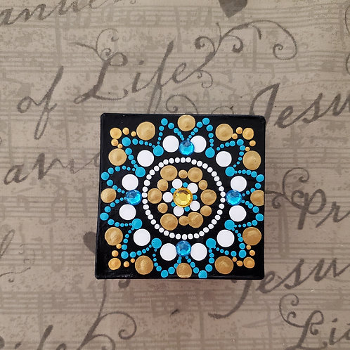 GOLD AND TEAL DOT MANDALA BOX