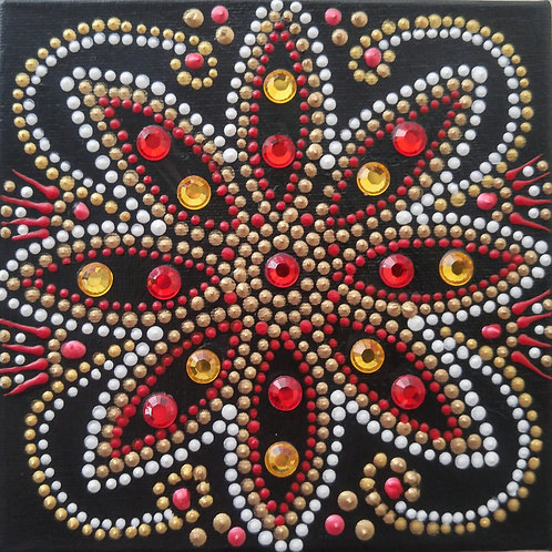 RED & GOLD FLOWER - Mixed Media - SOLD