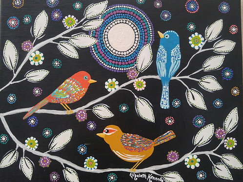 BIRD TRIO IN MOONLIGHT - SOLD