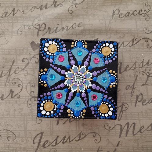 PINK AND BLUE DOT MANDALA BOX
