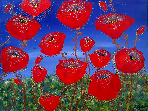 RED POPPIES IN BLUE