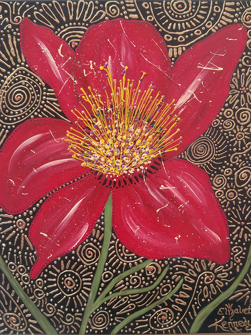 RED FLOWER IN GOLD -SOLD