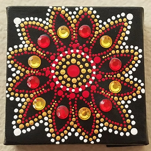 GOLD & RED FLOWER DOT CUBE
