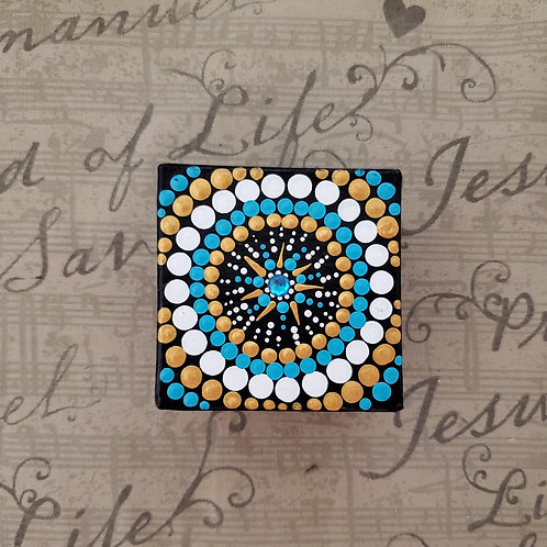 TEAL SUN DOT MANDALA BOX