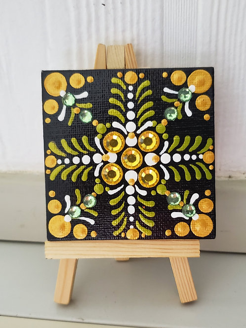 DOT MANDALA GREEN & GOLD MINI