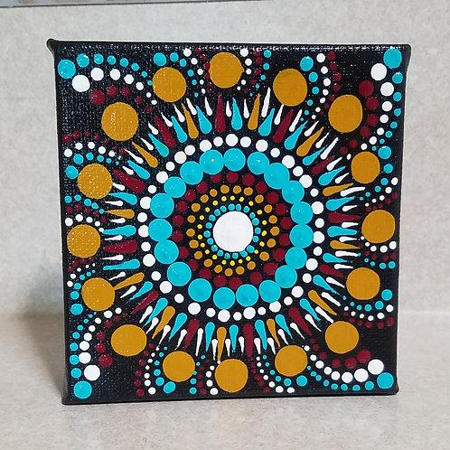 TEAL AND GOLD DOT MANDALA CUBE