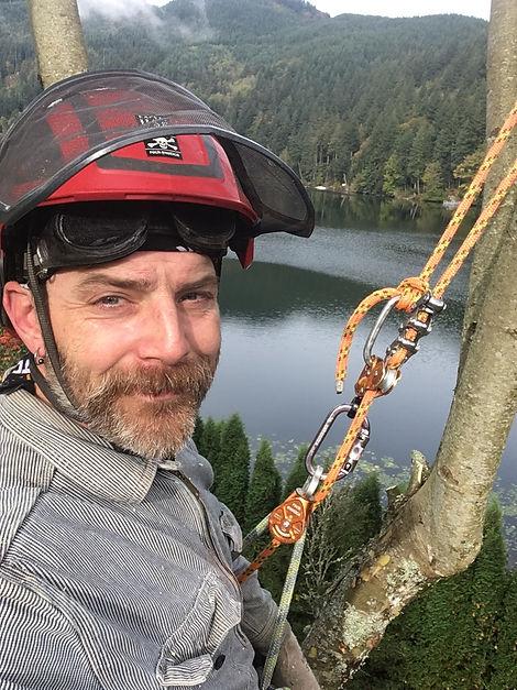 John the arborist in a tree