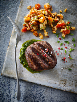 Roast beef and barley risotto