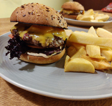 Delicious Homemade Cheese Burger & Chips