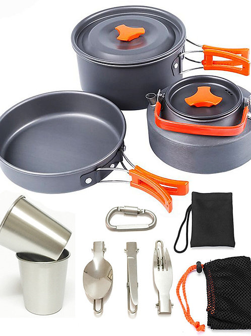Camping Pot with Pan Cookware Sets 9pcs Lightweight Windproof Rain Waterproof fo