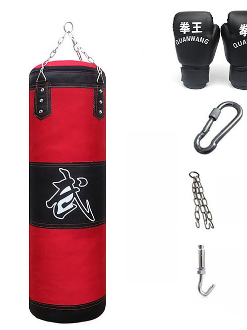 Punching Bag Heavy Bag Kit With Hanger Boxing Gloves Removable Chain Strap Punch