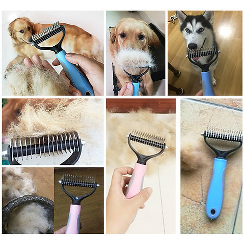 Dog Cat Shedding Tools Comfortable Plastic Comb Brush Portable Double-Sided Pet