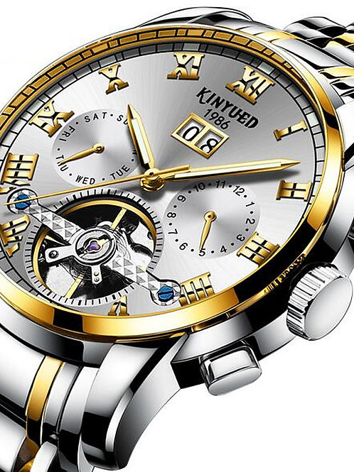 KINYUED Men's Skeleton Watch Mechanical Watch Swiss Automatic self-winding Black