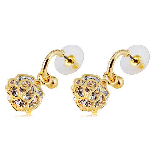 Golden Rose Style Alloy Crystal Earrings - Golden (Pair)