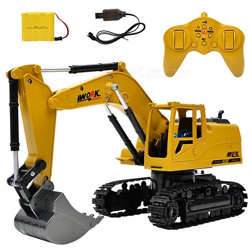 ESAMACT 2.4G 1:24 Remote Control Excavator Vehicle, 8 Channels Metal Charging Mo