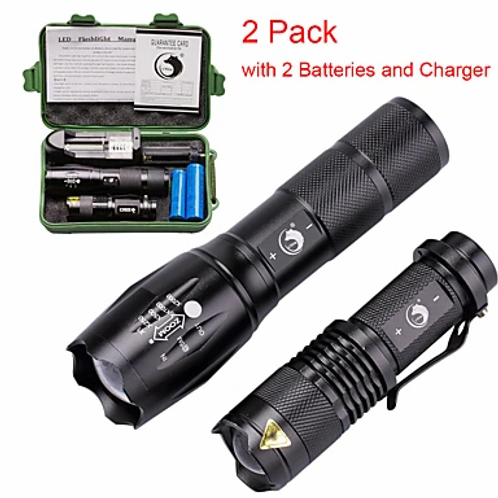 U'King 2 Pack LED Flashlights Torch Waterproof Zoomable 2000 lm LED Emitters 3 5