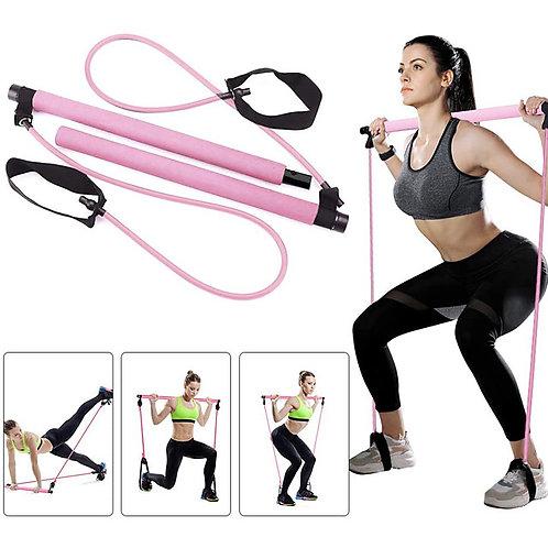 Pilates Resistance Band and Toning Bar Pilates Exercise Stick Sports Latex Nylon