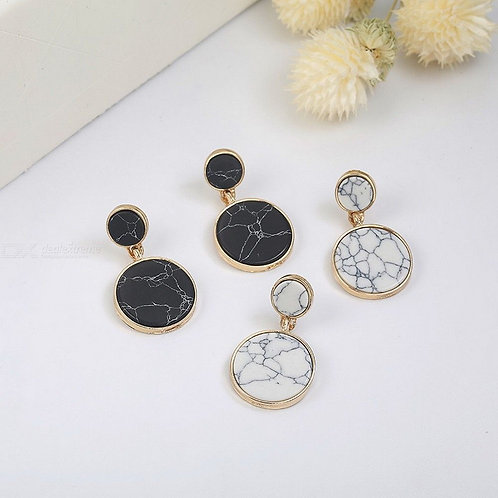 Creative All-match Dangle Earrings With Artificial Marble Pattern Fashion Womens