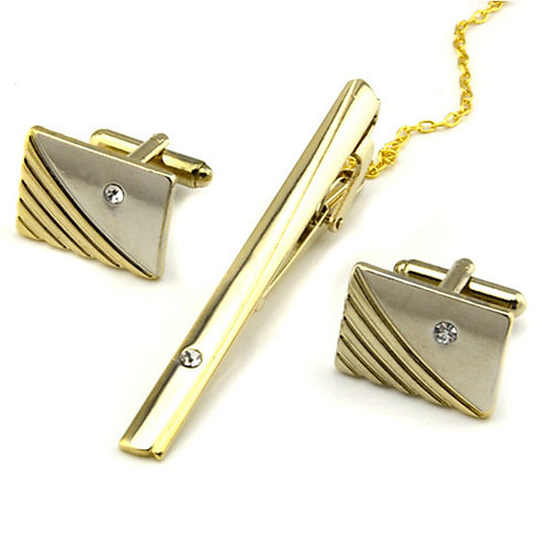 Cufflinks Tie Clips Formal Brooch Jewelry Silver Golden For Daily Work