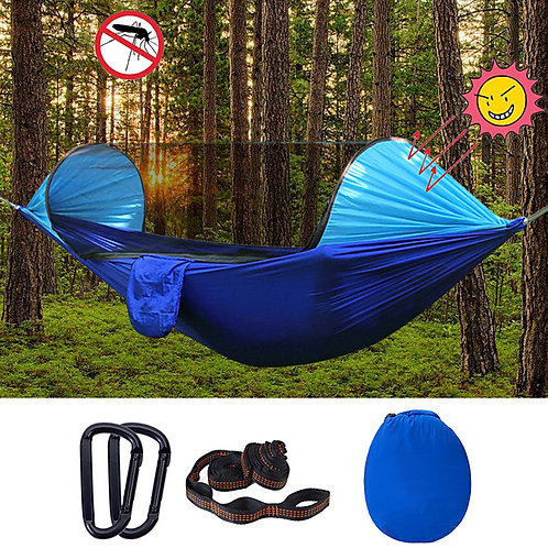 Camping Hammock with Pop Up Mosquito Net Outdoor Portable Sunscreen Breathable R