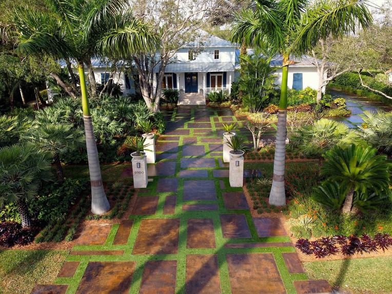 Front Yard Driveway Entrance Landscape Design in Miami Florida