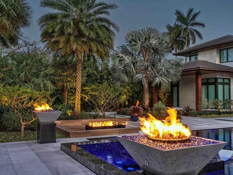 Firepit and Pool Area Landscape Architec