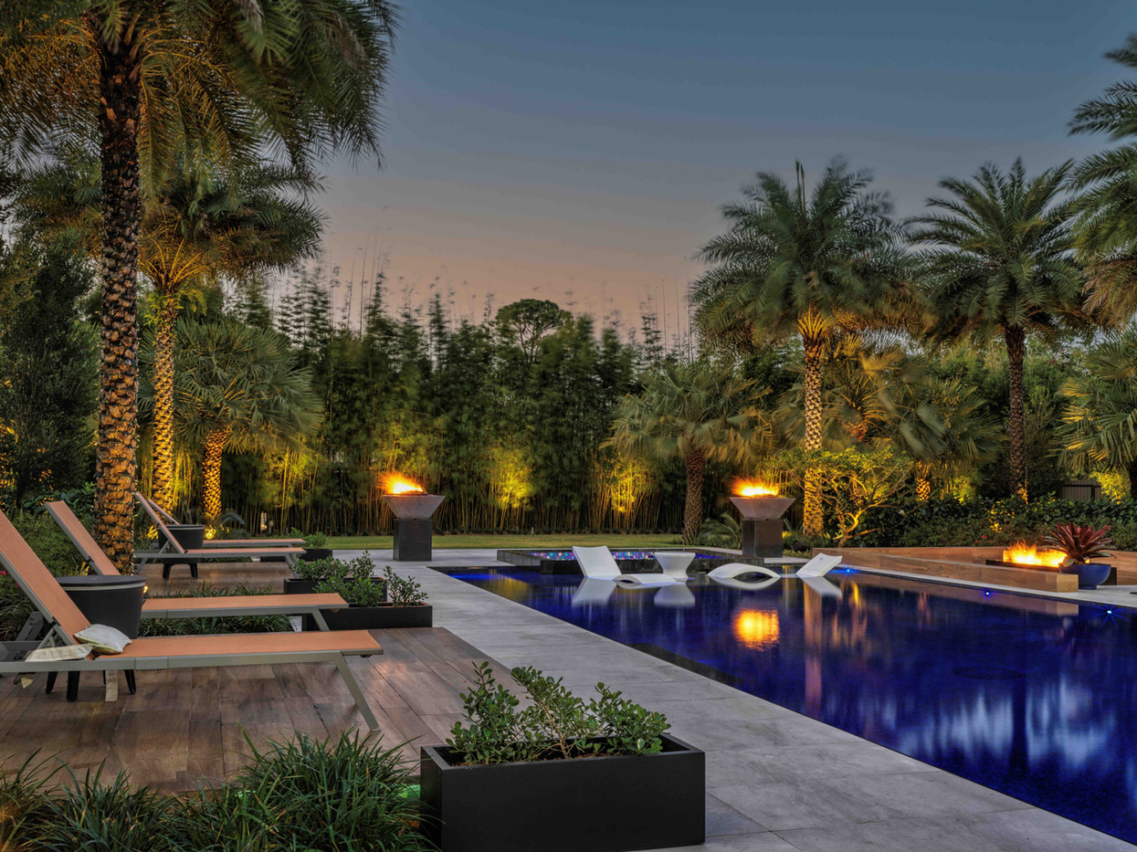 Landscape Design around Pool with Firepit