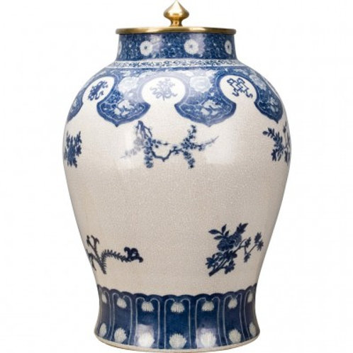 BIG PORCELAIN JAR WITH BRONZE LID-BLUE AND WHITE FLOWERS