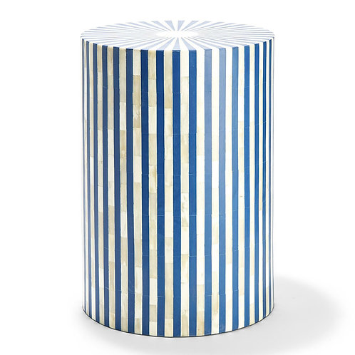Blue/White Lines Side Table/Stool