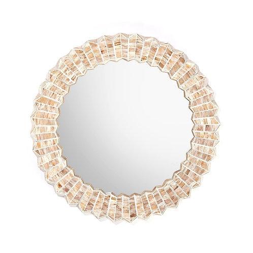 Beige Chevron Bone Flower Mirror