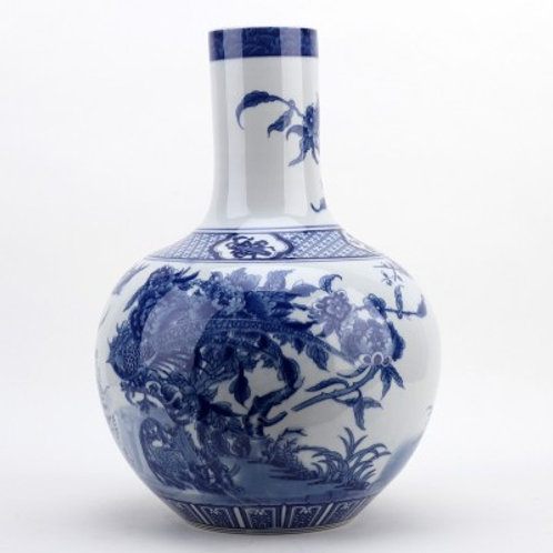 Ball Shaped Vase - Blue And White Peacock