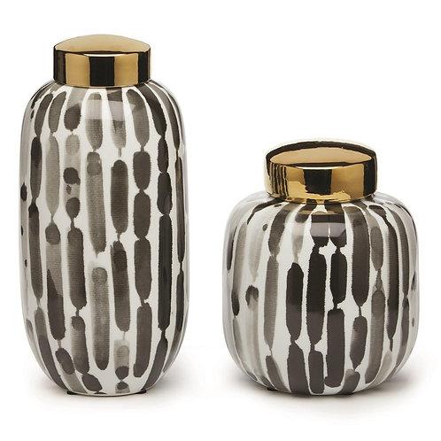 Brush Stroke Blue & White Jars