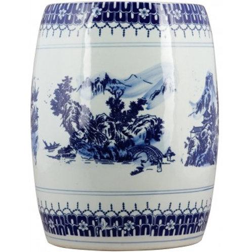 BLUE AND WHITE GARDEN STOOL-SCENIC