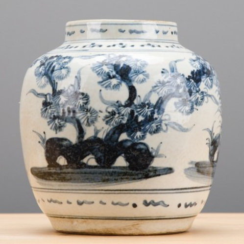 BLUE AND WHITE VASE-FLORAL