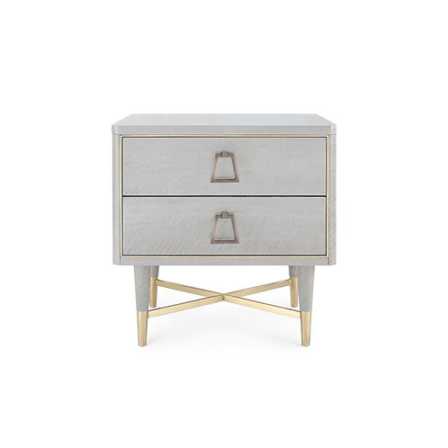 ADRIAN 2-DRAWER SIDE TABLE, LIGHT GRAY ANIGRE