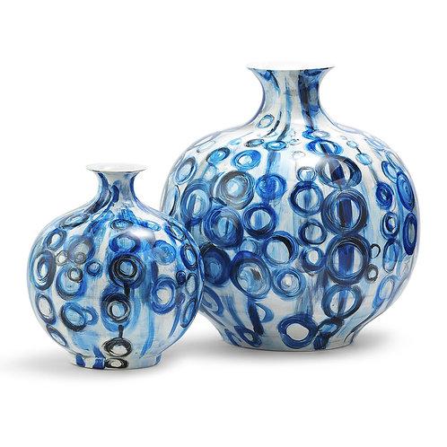 Blue Circles S/2 Vases