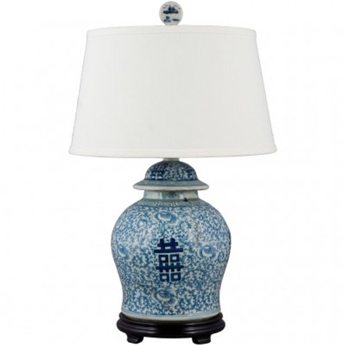 BLUE AND WHITE- DOUBLE HAPPINESS GINGER JAR LAMP