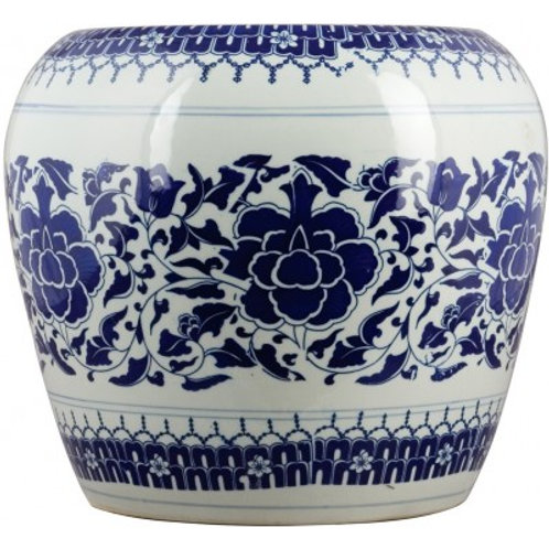 BLUE AND WHITE GARDEN STOOL-FLORAL