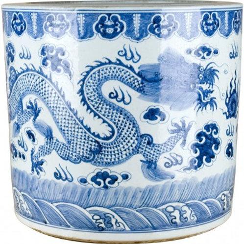 BLUE AND WHITE DRAGON PORCELAIN STRAIGHT BASIN