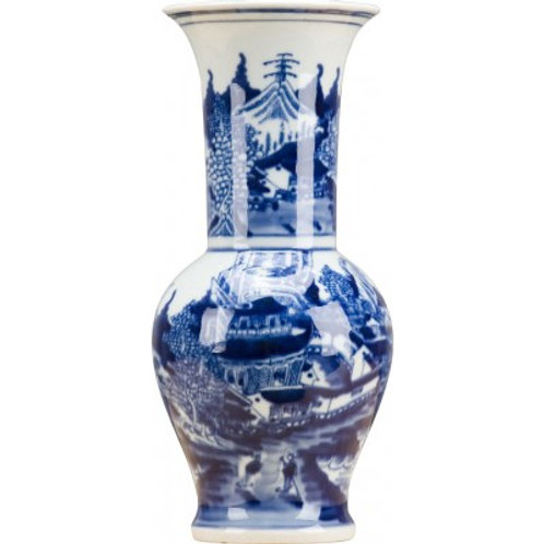 BLUE AND WHITE SMALL FLAIR VASE