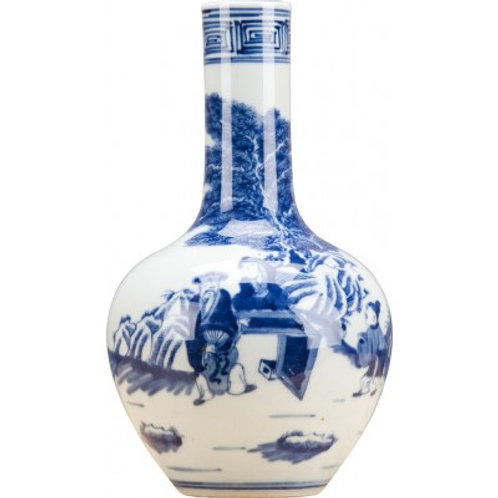 BLUE AND WHITE SMALL BULB VASE
