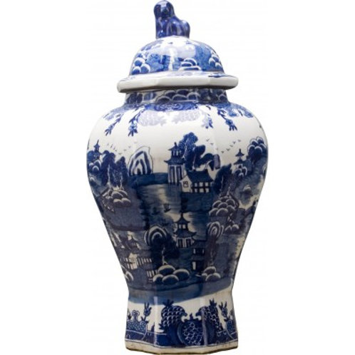 BLUE AND WHITE HEXAGONAL TEMPLE JAR
