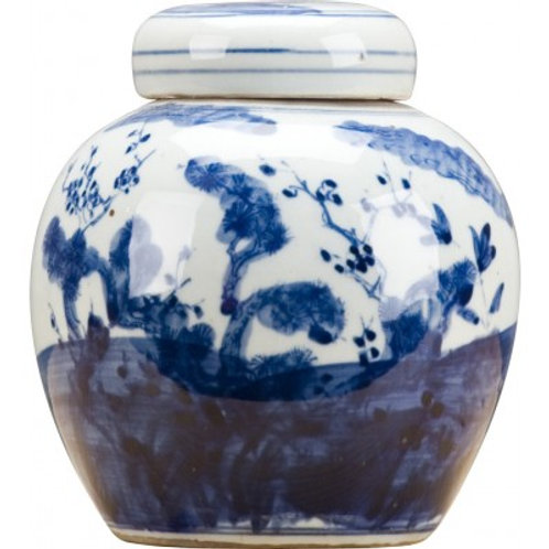 BLUE AND WHITE BULB JAR-FLORAL