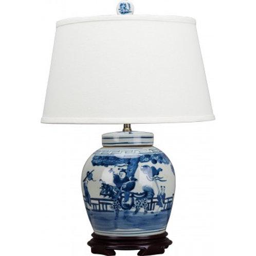 Blue And White Bulb Lidded Jar Lamp